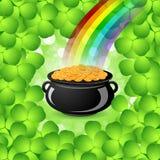 Großer Kessel St. Patricks Tagesmit Goldmünzen Lizenzfreie Stockfotos