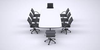 Großer Konferenztisch und acht schwarze Bürostühle Lizenzfreie Stockfotografie