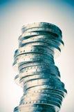 Großer Kontrollturm der Euromünzen Lizenzfreie Stockbilder