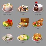 Großer Lebensmittelsatz, neun Ikonen von köstlichen Tellern stock abbildung