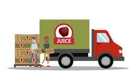 Großer LKW voll des Apfelsaftes Lizenzfreie Stockbilder