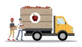 Großer LKW voll von Äpfeln Stockfotos