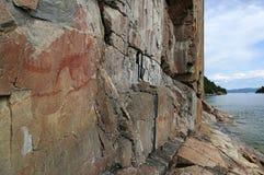 Großer Luchs und Agawa-Felsen-Standort Lizenzfreies Stockbild