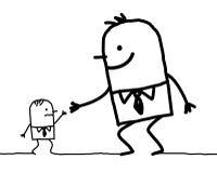 Großer Mann, der Hilfe bis kleines gibt stock abbildung