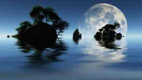 Großer Mond und kleine Inseln Stockfotografie