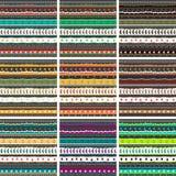 Großer Mustersatz Wunderliche Stickereistreifen, Hand gezeichnete Gekritzelverzierungssammlung Stockbild