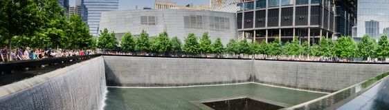 großer Panoramablick von nationalem am 11. September Erinnerungs- und von Museum stockfotos