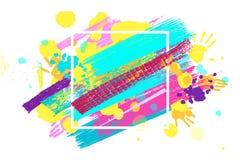 Großer quadratischer Rahmen gemacht von farbigen handprints Stockfotos