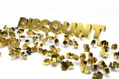 Großer Rabattaufkleber mit den Golddollarzeichen, die vom Himmel fallen Stockfoto