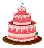 Großer rosafarbener Kuchen Stockfotos