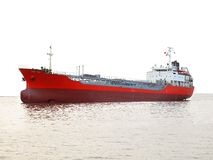 Großer roter Öltanker Stockfotografie