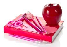 Großer roter Apfel auf einem Buch Stockfotos