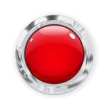 Großer roter Glasknopf Lizenzfreies Stockbild