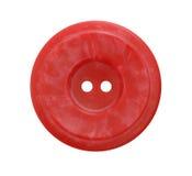 Großer roter Knopf auf weißem Hintergrund Stockfoto