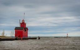 Großer roter Leuchtturm Lizenzfreies Stockfoto