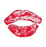 Großer roter Lippenkuß auf weißem Hintergrund Lizenzfreies Stockbild