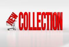 Großer roter neuer Sammlungstext im Warenkorb auf weißem Hintergrund Stockfotografie