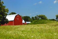 Großer roter Stall mit weißem Dach. Stockbild