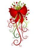 Großer roter Weihnachtsbogen und -farbbänder Lizenzfreies Stockbild