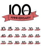 Großer Sammlungs-Satz der Schablone Logo Anniversary Vector Illustrat Stockbilder