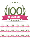 Großer Sammlungs-Satz der Schablone Logo Anniversary Vector Illustrat Lizenzfreie Stockfotos