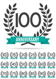Großer Sammlungs-Satz der Schablone Logo Anniversary Vector Illustration Stockbilder