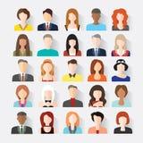 Großer Satz Avataras profilieren flache Ikonen der Bilder Stockfotos