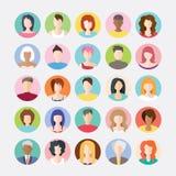 Großer Satz Avataras profilieren flache Ikonen der Bilder Lizenzfreies Stockfoto