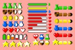 Großer Satz 8-Bit-Spiel elementsand Stangen Stockfotos