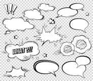 Großer Satz der Karikatur, komische Sprache-Blasen, leere Dialog-Wolken im Knall Art Style Vektor-Illustration für Comics-Buch Lizenzfreie Stockbilder