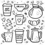 Großer Satz des Kaffeegekritzels Kaffee zum Mitnehmen, Kaffeetöpfe, Schalen und Gestaltungselemente Stock Abbildung