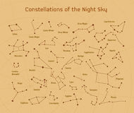 Großer Satz des Vektors 28 Konstellationen Sammlung Tierkreiskonstellationen des nächtlichen Himmels Stockfoto