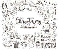 Großer Satz des Weihnachtsgestaltungselements in der Gekritzelart Stockbild