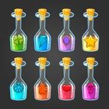 Großer Satz Flaschen mit verschiedenen Giften lizenzfreie abbildung