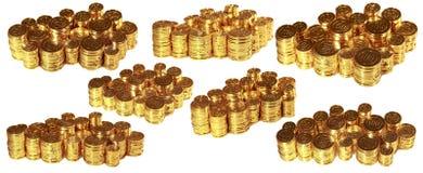 Großer Satz Fotos mit goldenen Münzen Getrennt auf weißem Hintergrund lizenzfreie stockfotos