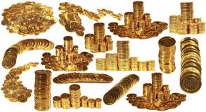 Großer Satz Fotos mit goldenen Münzen Getrennt auf weißem Hintergrund Stockfoto