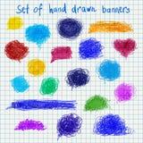 Großer Satz Hand gezeichnete Farbfahnen vector Illustration Lizenzfreie Stockfotos