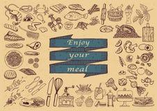 Großer Satz Hand gezeichnete Restaurantikonen Lizenzfreie Stockbilder
