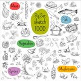 Großer Satz Hand gezeichnetes Lebensmittel Stockbild
