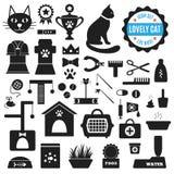 Großer Satz Ikonen über reizende Katze Vektor Stockbilder