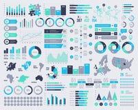 Großer Satz infographic Elemente des Vektors mit Karten und Ikonen Lizenzfreies Stockfoto