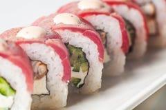 großer Satz mit Sushi und Rollen Lizenzfreie Stockfotos