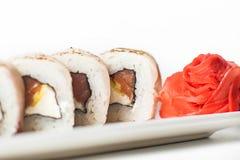 großer Satz mit Sushi und Rollen Lizenzfreies Stockbild