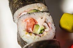 großer Satz mit Sushi und Rollen Lizenzfreie Stockfotografie