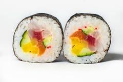 großer Satz mit Sushi und Rollen Stockbilder