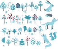 Großer Satz mit Winterbäumen und Waldtieren Stockbild