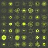 Großer Satz Retro- Sun-Explosionsformen Logo mit 49 Weinlesen, Aufkleber, badg Stockfotos