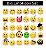 Großer Satz runde gelbe Emoticons Lizenzfreies Stockbild