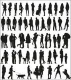 Großer Satz Schattenbilder von städtischen Leuten Stockbild
