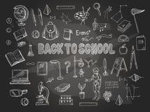 Großer Satz Schuleinzelteile, wie ein Rucksack, ein Buch, ein Laptop, eine Kugel usw., weißte auf einer Tafel Vektor stock abbildung